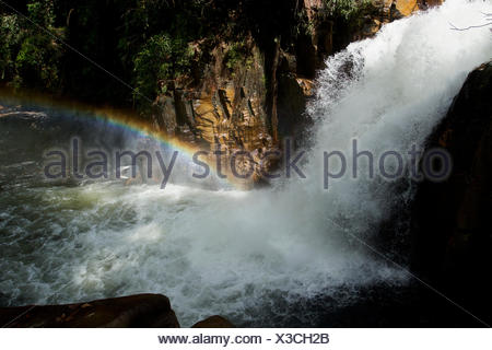 Rainbow in the mist of Riam Berasap, the Falls of the Mists, which is the largest waterfall in Gunung Palung National Park. - Stock Photo