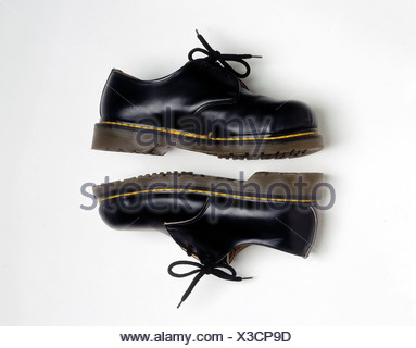 fashion, shoes, pair of black Doc Martens, safety shoes with steel toe cap, shoe, - Stock Photo