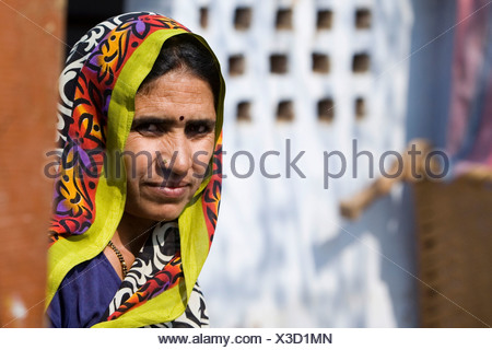 Indian woman wearing traditional dress, India, Asia - Stock Photo