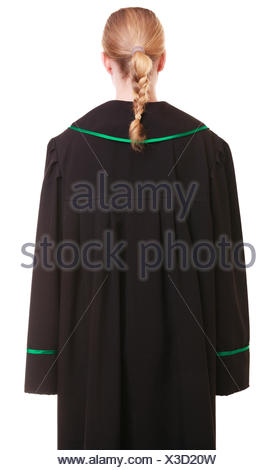 female lawyer wearing classic polish black green gown back view - Stock Photo