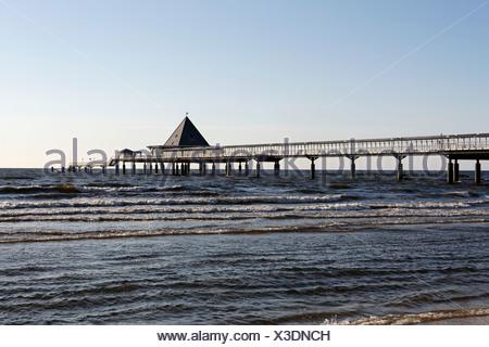 Pier, Heringsdorf seaside resort, Usedom Island, Baltic Sea, Mecklenburg-Western Pomerania, Germany, Europe - Stock Photo