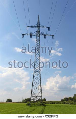 electricity pylon, Germany - Stock Photo