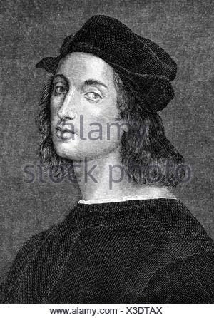 Raphael, 28.3. / 6.4.1483 - 6.4.1520, Italian painter, architect, portrait, wood engraving, 19th century, Additional-Rights-Clearances-NA - Stock Photo