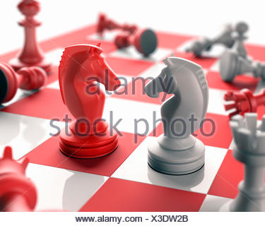 Chess pieces (knights) on chess board, computer illustration. - Stock Photo