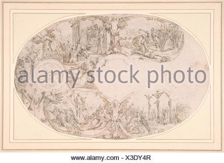 Design for a Silver Vessel with Scenes from the Passion of Christ. Artist: Paulus Willemsz. van Vianen (Netherlandish, Utrecht ca. 1570-ca. 1613/14 - Stock Photo