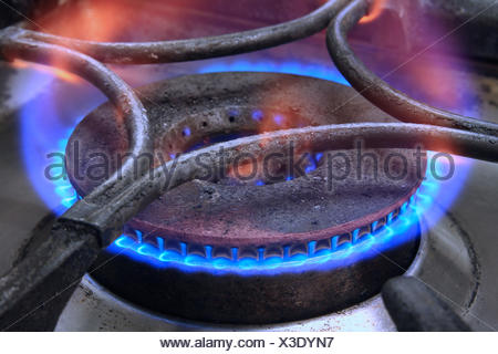 gas flame of a gas cooker, Germany, North Rhine-Westphalia - Stock Photo