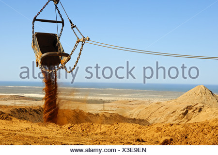 Bucket of a dragline excavator dumping earth - Stock Photo