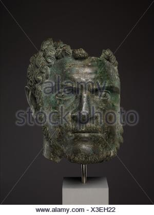 Fragmentary bronze portrait of the emperor Caracalla. Period: Mid-Imperial, Severan; Date: ca. A.D. 212-217; Culture: Roman; Medium: Bronze; - Stock Photo