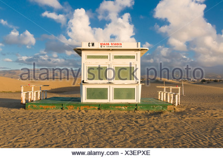 A closed beach restaurant on the beach of Maspalomas, Gran Canaria, Canary Islands, Spain, Europe - Stock Photo