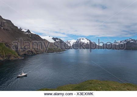 The Hans Hansson moored in Wilson Harbour, South Georgia - Stock Photo