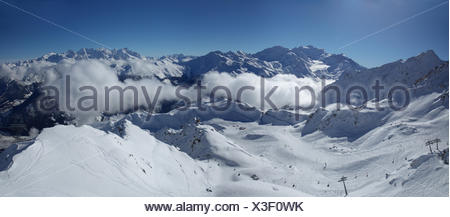Winter, skiing area, Verbier, Grand Combin, winter, canton, VS, Valais, mountain, mountains, ski, skiing, Carving, Switzerland, - Stock Photo