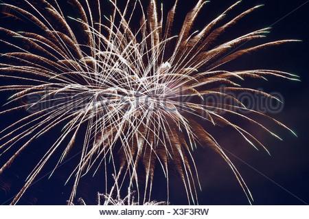 Fires, fireworks, pyrotechnics, rocket, rays, beams, explode, explosion, sky, darkly, sky, brightly, illuminates, light, - Stock Photo