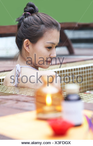 aroma therapy items in the bathroom - Stock Photo
