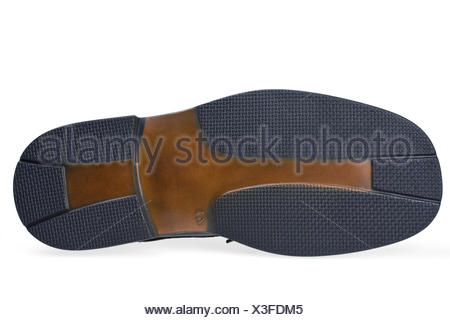 sole of  of a black leather shoe - Stock Photo