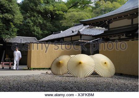 Oil-paper umbrellas left open to dry, Shimogamo Shrine, Kyoto, Japan, East Asia, Asia - Stock Photo