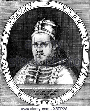Paul V (Camillo Borghese), 17.9.1552 - 28.1.1621, Pope  16.5.1605 - 28.1.1621, portrait, copper engraving, 17th century, , Artist's Copyright has not to be cleared - Stock Photo