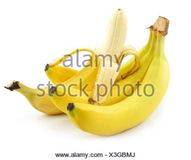 Bunch of Ripe Peeled Banana Isolated on White - Stock Photo