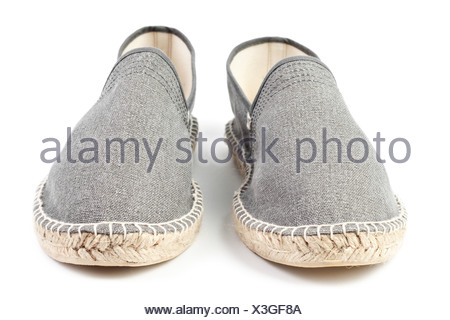 pair of gray men sneakers isolated on white - Stock Photo
