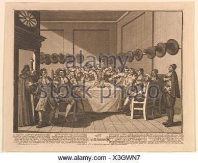 The Committee (Twelve Large Illustrations for Samuel Butler´s Hudbras, Plate 10). Artist: William Hogarth (British, London 1697-1764 London); - Stock Photo