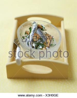 Fresh anchovies marinated with garlic - Stock Photo
