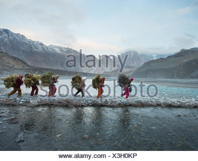 Women returning from getting wood for cooking and heating and hay to feed their livestock, a two hour walk. - Stock Photo