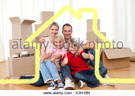 Composite image of cheerful family relaxing sitting on the floor - Stock Photo