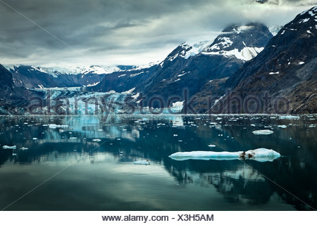 Johns Hopkins Glacier and Gilman Glacier and their reflections on Johns Hopkins Inlet, Glacier Bay National Park , Alaska - Stock Photo