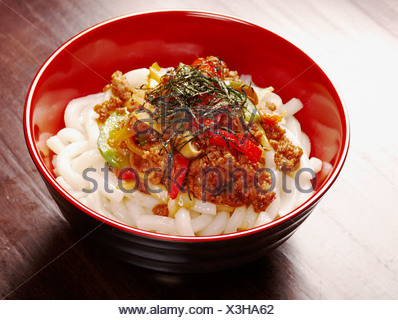 udon noodles with beef tendon stew - Stock Photo
