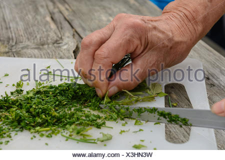 Cut chives on plate by hand with a knife - Stock Photo