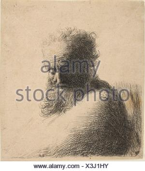 Bust of an Old Bearded Man Looking Down, Three-Quarters Right. Artist: Rembrandt (Rembrandt van Rijn) (Dutch, Leiden 1606-1669 Amsterdam); Date: - Stock Photo
