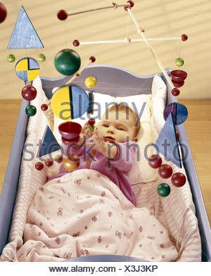 Cot, baby, mobile, inside, bed, child cradle, cradle, child, lie, child mobile, toys, toys, activity, from above - Stock Photo