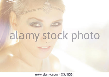 Portrait of a young woman in summer - Stock Photo