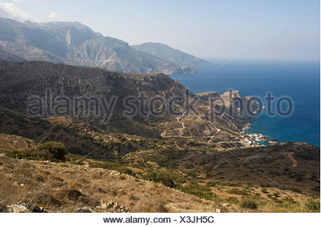Agios Nikolaos at Spoa, Karpathos island, Aegean Islands, Aegean Sea, Dodecanese, Greece, Europe - Stock Photo