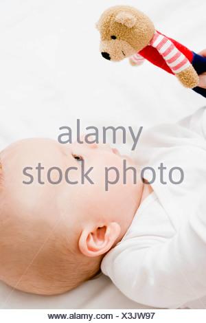 Baby looking up teddy bear - Stock Photo