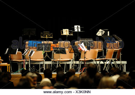 Empty Chairs On A Concert Stage   Stock Photo