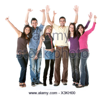 casual group of happy young people cheering - Stock Photo