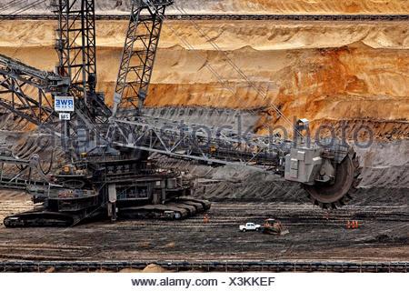 Bucket wheel excavators 282 in Inden opencast mine, lignite mining, Inden, Rhenish lignite mining area, North Rhine-Westphalia - Stock Photo