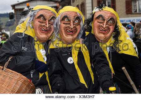 Three Wegere witches, at the 37th Motteri carnival parade Malters, Lucerne, Canton of Lucerne, Switzerland - Stock Photo