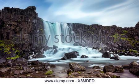 Oxararfoss waterfall, Thingvellir, Iceland - Stock Photo