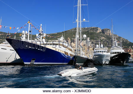 Monaco Yacht Show 2012, Port Hercule, Principality of Monaco, Cote d'Azur, Mediterranean Sea, Europe - Stock Photo