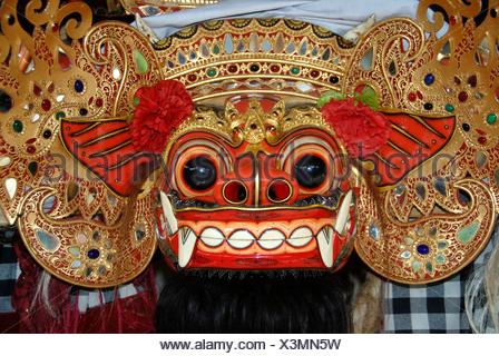Arts and culture, Barong mask, mystical mythical creature, Ubud, Bali, Indonesia, Southeast Asia, Asia - Stock Photo