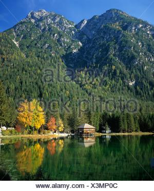Toblacher See lake, autumn mood, Toblach, Pusteria, Bolzano, South Tyrol, Italy, Europe - Stock Photo