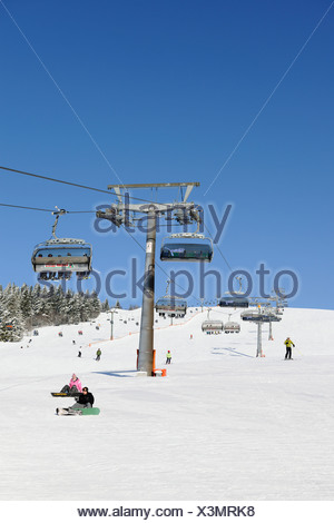 Skilift on Mt Feldberg, southern Black Forest, Baden-Wuerttemberg, Germany, Europe - Stock Photo