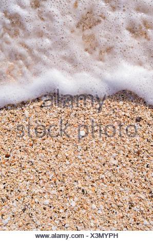 Ocean surf on the beach, Antigua, Caribbean - Stock Photo