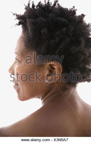 Rear view of woman with black hair - Stock Photo