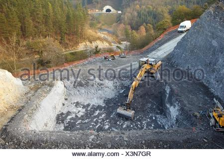 Site preparation for construction of concrete footings for viaduct, Works of the new railway platform in the Basque Country, - Stock Photo