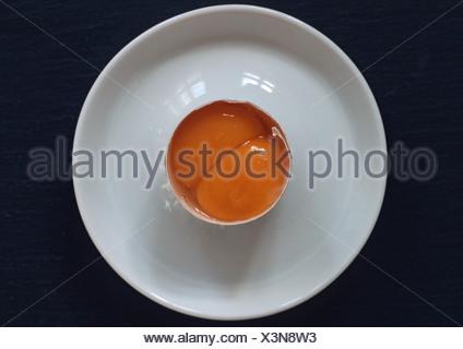 Two egg yolks in a broken egg shell - Stock Photo
