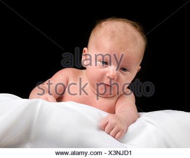 Baby, girl, 5 weeks old - Stock Photo
