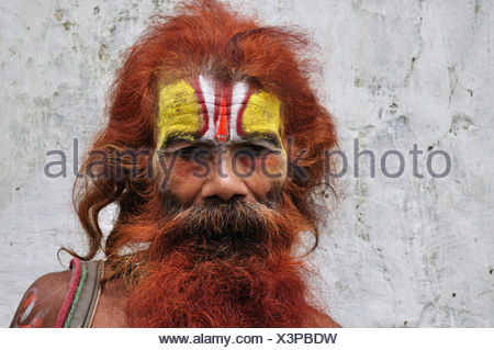 Nepal, Bagmati, Kathmandu, Pashupatinath temple, Portrait of sadhu, close-up - Stock Photo