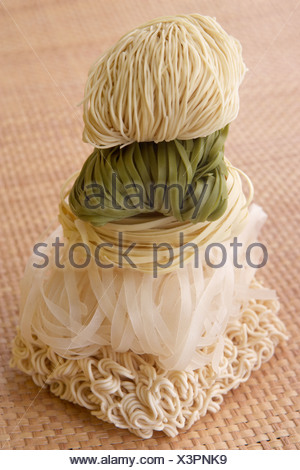 Stack Of Different Noodles - Stock Photo